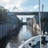 Sailing through the locks on the way from Yaroslavl to Kuzino, Russia.