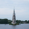 Sunken tower in the  Russian city Kalyazin located on the Volga river.