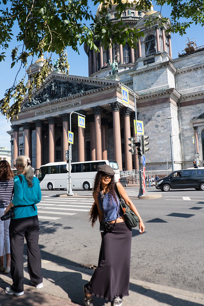 Tourist at Saint Isaac's Cathedral in Saint Petersburg, Russia.