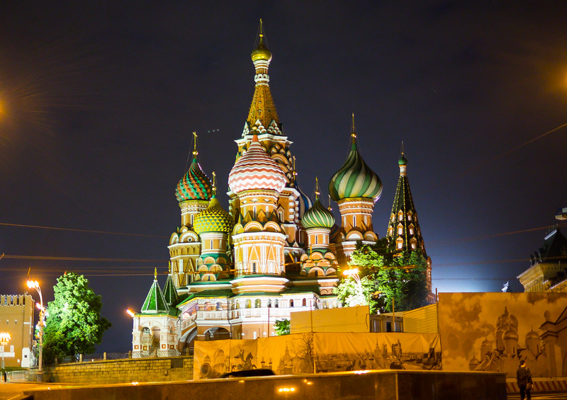 Iconic Church of Vasily the Blessed in Red Square Moscow.