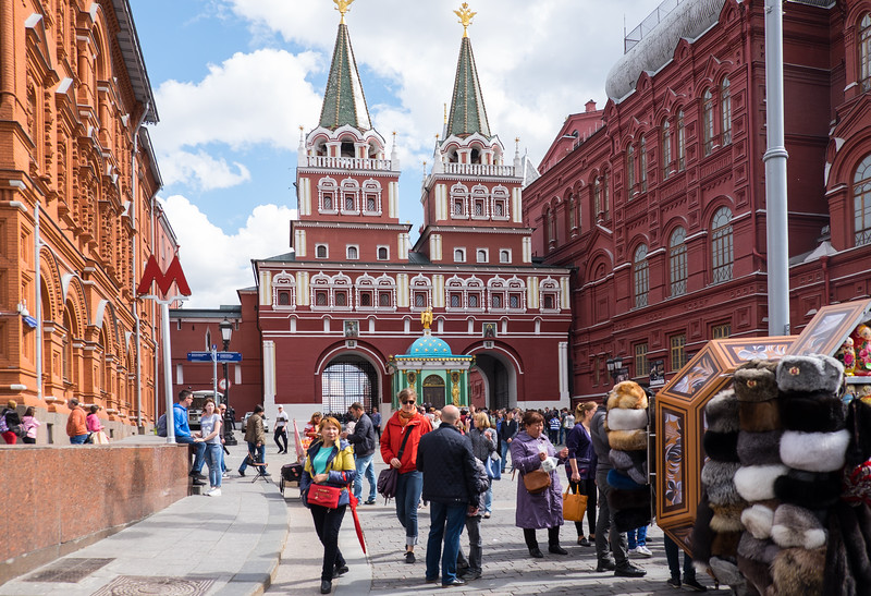 Arched entrances to Red Square in Moscow.
