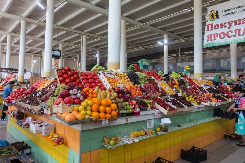 Indoor food market in Yaroslavl, Russia.