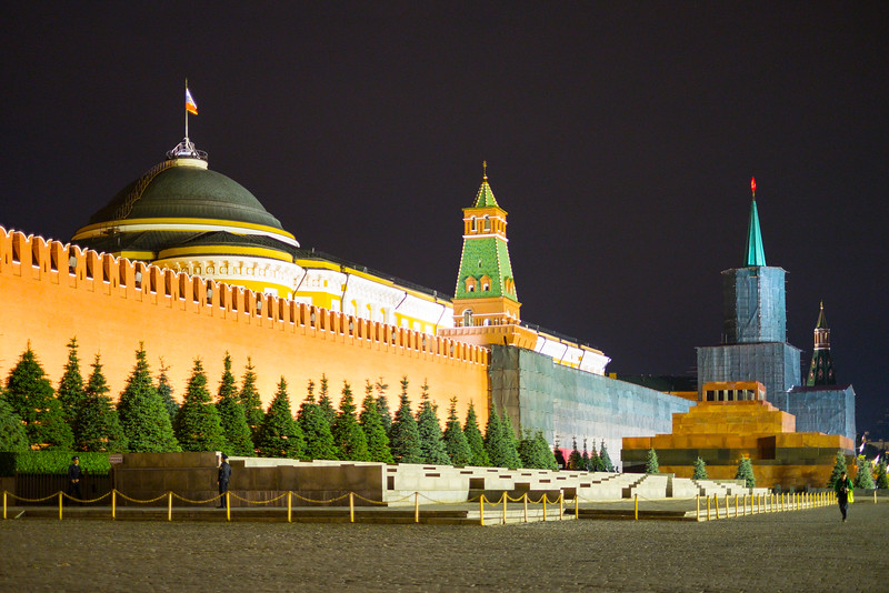 Red Square in Moscow at night.