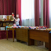 Selling hand made school souvenirs in Kuzino, Russia.