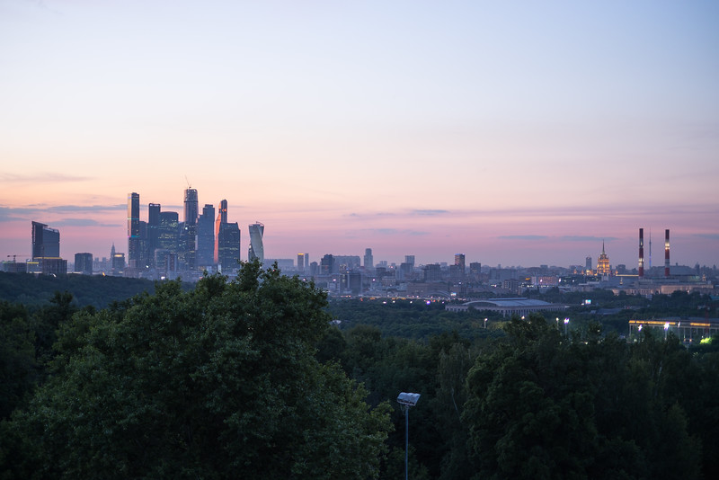 Moscow at dusk from the overlook.
