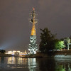 Peter the Great's Statue at Night from a Moscow Waterway.