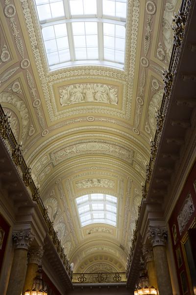 Ceiling artistic designs at the Hermitage Museum, Saint Petersburg.