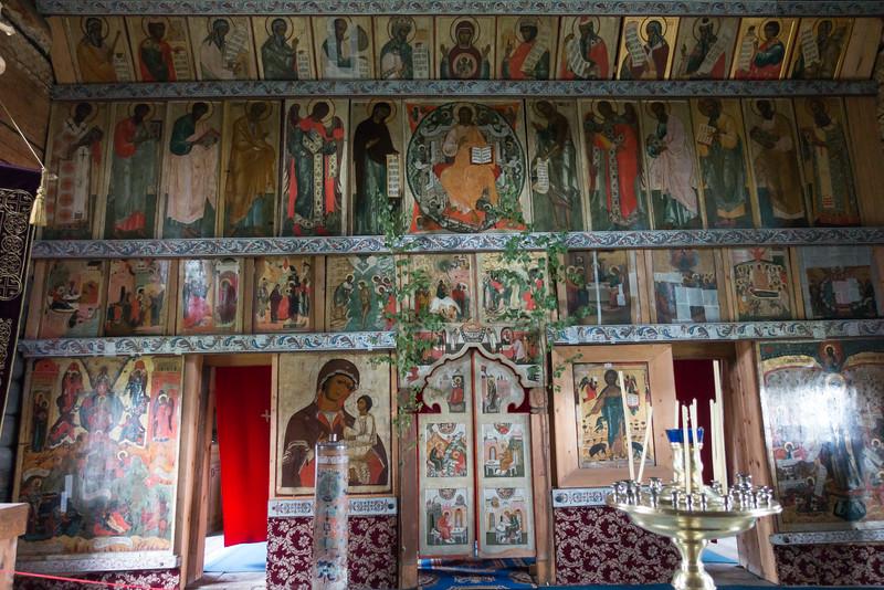 Inside the church on Kizhi Island, Russia.