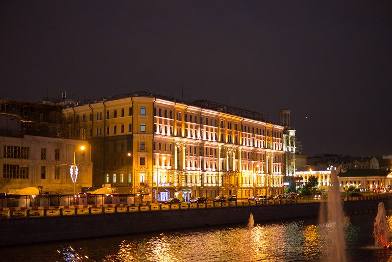 Apartments and stores from the Moscow waterways.