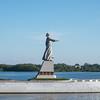 Mother Volga statue, River Volga, Rybinsk Reservoir, Volga-Baltic Waterway, Russia.