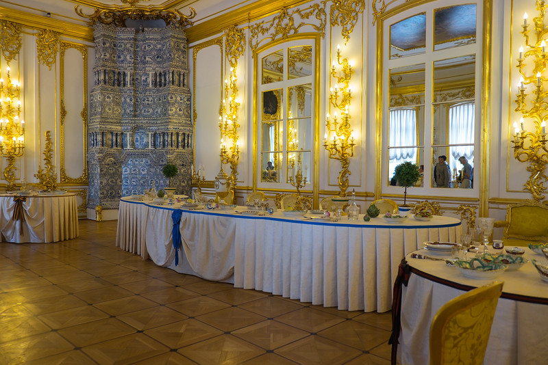Great dining rooms in Catherine Palace, Saint Petersburg, Russia.