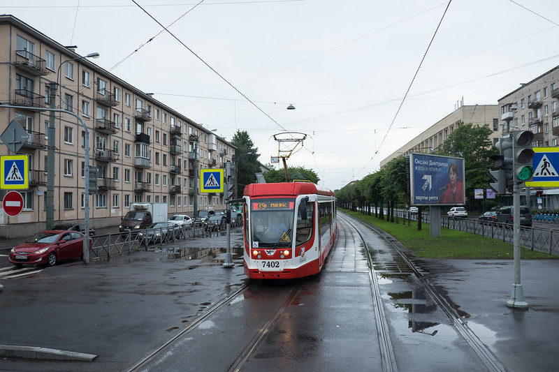 Electric trolley in Saint Petersburg, Russia.