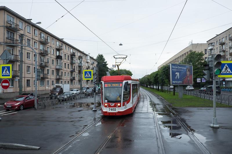 Electric trolley in Saint Petersburg, Russia.