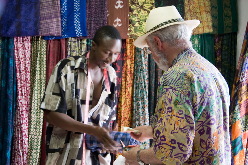 In a batik shop - Ghana is famous for it's cloth!