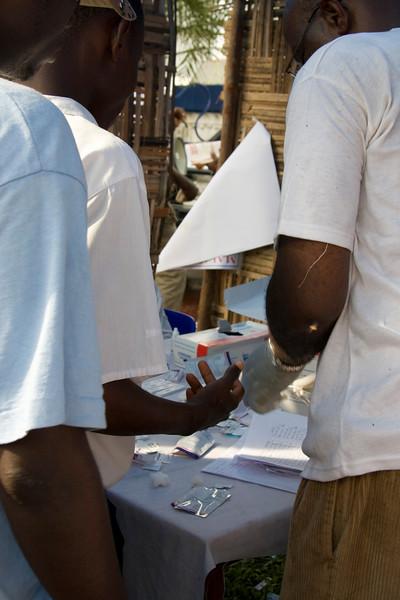 Malaria testing.