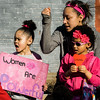 Delyla, Alyana and Natahlia Lajoie cheer during the International Women's Day celebration at the Cleghorn Youth Center in Fitchburg on Wednesday, March 8, 2017. SENTINEL & ENTERPRISE / Ashley Green