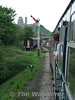 The 73 and the VEP pass the Up Home signal at Corfe Castle. Fri 09.05.08