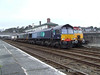 """66412 + 66413 are held at Bangor with the 1514 Valley - Crewe """"Flasks"""".  Fri 25.01.08"""