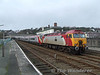 The 1414 Holyhead - London Euston was starting from Bangor on this day due to engineering work. 57316 is seen on top of 390018 in one of the middle roads at Bangor awaiting its departure time of 1443. Fri 25.01.08