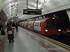 Angel Station as a Northern Line train bound for Morden arrives. Sat 26.01.08
