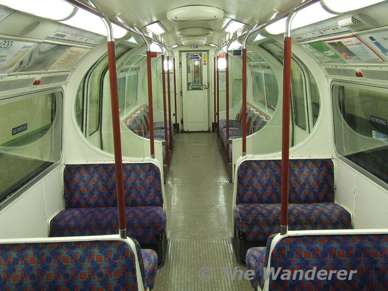 Interior of 1972 MKII tube stock as used on the Bakerloo line. Sat 26.01.08