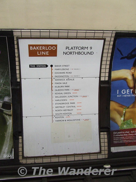 This Bakerloo Line Map still shows the service to Watford Junction (covered over from Harrow and Wealdstone), withdrawn in the early 1980's. Sat 26.01.08