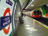 South Wimbledon Underground Station on the Morden Branch of the Northern Line as a 95 tube stock arrives with a service to Mill Hill East via Bank. Sun 18.10.09