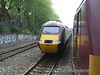 The HST powers away from 67017 as the train slows for a signal check. Fri 22.05.09