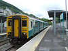 The recently rebuilt station at Merthyr Vale as 150250 waits time. Fri 22.05.09