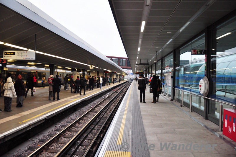 A new platform has recently been opened on the Central Line Eastbound at Stratford. The new platform is to the right. Train Doors open on both sides. Sat 20.11.10