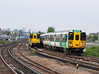 Class 455's 5806 and 5833 pass each other at Clapham Jct. Thurs 13.05.10.