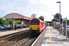 67018 in DB Red livery arrives at Yatton with the 0800 Cardiff Central - Paignton. Wed 13.05.10