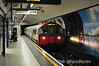A Piccadilly Line train arrives at Leicester Square. Sat 09.06.12
