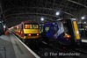 90029 and 380108 at Glasgow Central. 90028 has brought the Sleeper stock in from the depot.  Wed 17.10.12