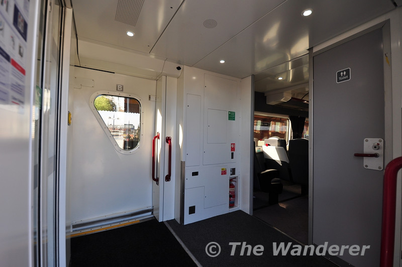 The vestibule ends of the MKIII coaches had to be heavily modified to accomomdate the plug doors. This shows the toilet end.  Wed 17.10.12