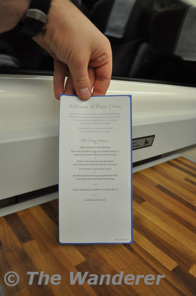 The evening menu options in 1st class on East Coast Trains.  Wed 17.10.12