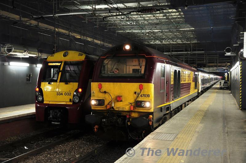 334034 and 67030 at Edinburgh Waverley. Fri 08.06.12