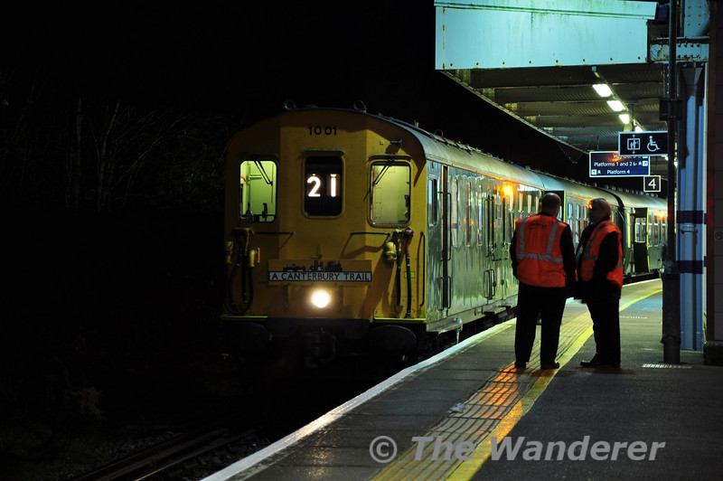 Hastings Diesel Class 201 / 202 No. 1001 waits to depart with the Canterbury Trail Railtour to Dungeness. Sat 24.11.12