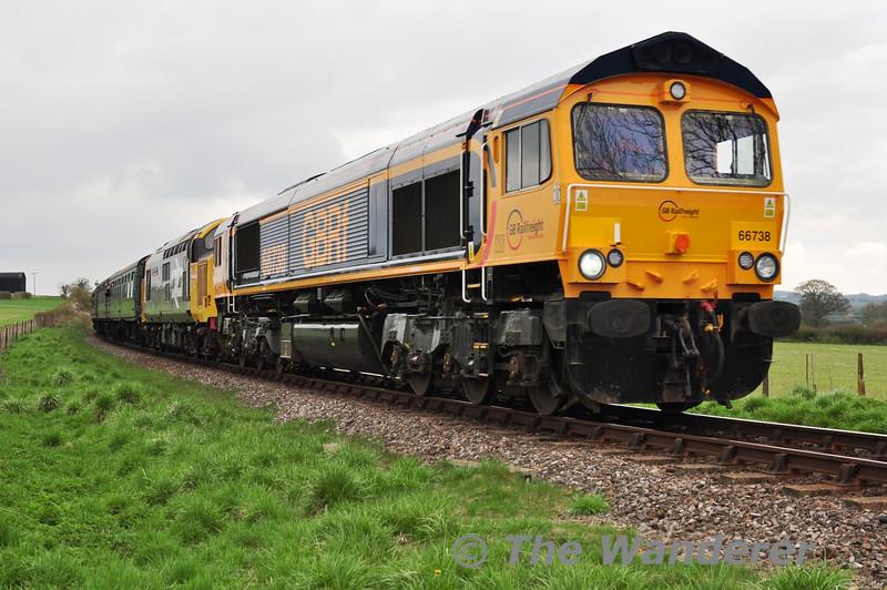 66738 and 37901 near Bighton Lane with the 1130 Alton - Alresford. Sat 27.04.13