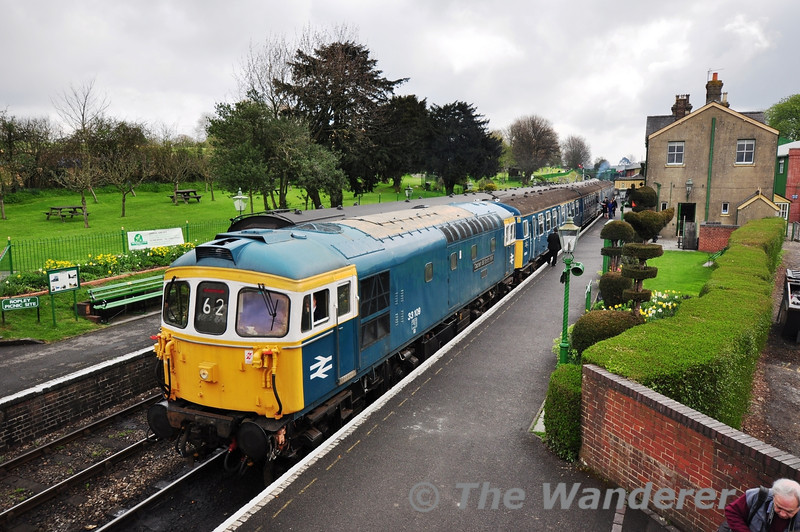 33109 + 3417 at Ropley with the 0930 Alton - Alresford.  Fri 26.04.13