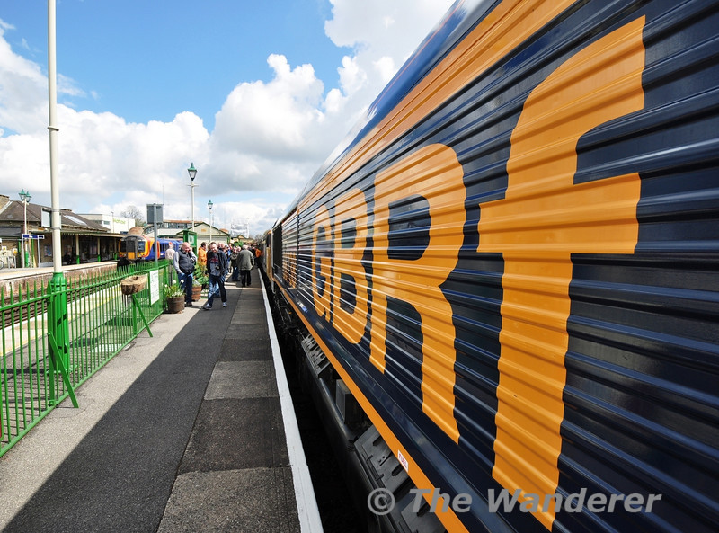 GBRF provided 66738 for the Gala. It is about to work the 1130 Alton - Alresford. 37901 was inside the loco to act as brake translator between the air braked loco and vacuum braked coaches.  Fri 26.04.13