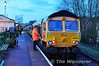 66738 prepares to depart Alton with 3417 as the delayed 2010 to Alresford. Sat 27.04.13