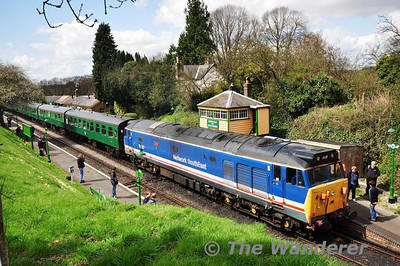 50027, 1145 Alresford - Alton at Medstead and Four Mark while waiting to cross a down train.