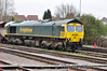66957 at Stoke Gifford Yard with a Freightliner Coal Train. Thurs 25.04.13