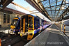 170411 and 158741 lead a lomg line of DMU's stabled in Perth for the Monday morning service. Sun 28.04.13