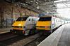 91126 and 91129 pass each other at Edinburgh. Sun 28.04.13