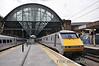 91129 waits to depart Kings Cross with the 1300 to Edinburgh. Sun 28.04.13