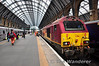 67022 at London Kings Cross after hauling in a East Coast express. The cab on DVT 82205 was defective hence the need for a pilot loco. Sun 28.04.13