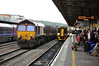 66035 passes Cardiff Central with a Steel Train to Newport Docks. Fri 24.05.13