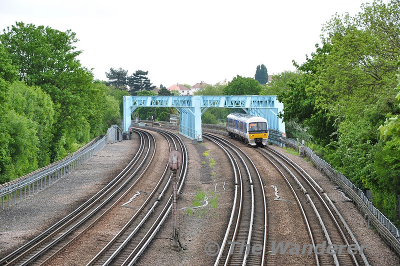 165025 crosses over the Rickmansworth Road at Northwood bound for Aylesbury. Sat 25.05.13